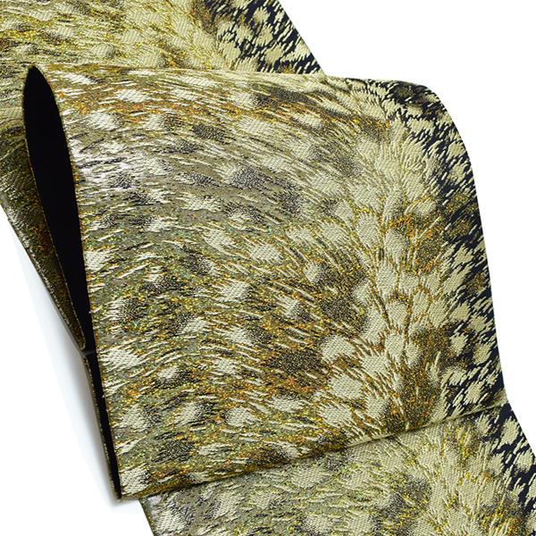 振袖 袋帯「ゴールド 吹雪」未仕立て 六通柄 正絹帯 成人式 <T>【メール便不可】