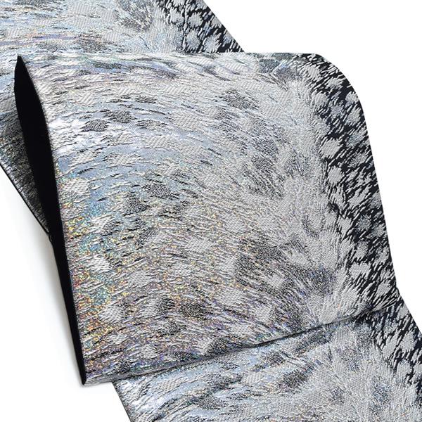 振袖 袋帯「シルバー 吹雪」未仕立て 六通柄 正絹帯 成人式 <T>【メール便不可】