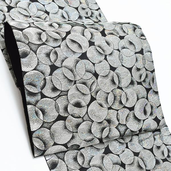 振袖 袋帯「シルバー ゆらぎ縞」未仕立て 六通柄 正絹帯 成人式 <T>【メール便不可】