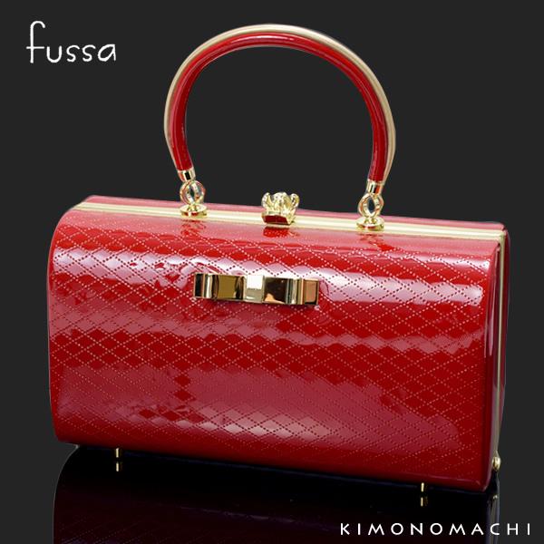 fussa バッグ単品「赤色 リボン」型押リボン飾り 成人式、結婚式の振袖に 振袖バッグ 華やかバッグ <H>【メール便不可】