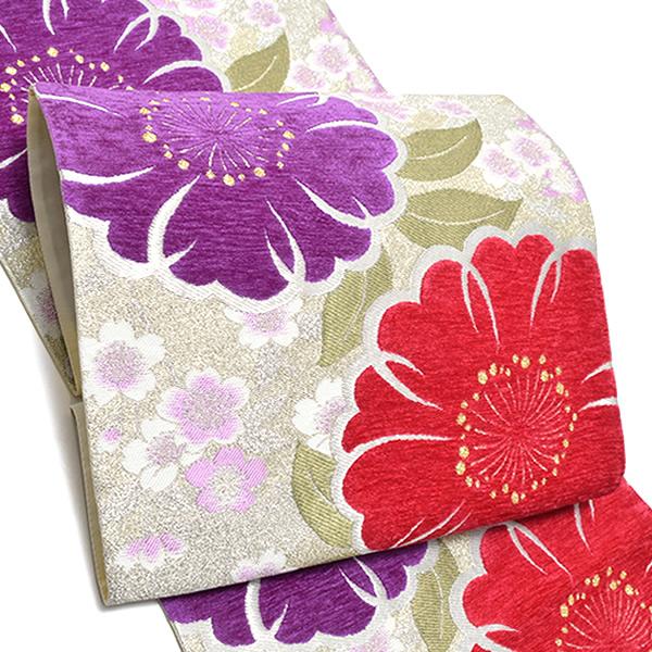 振袖 袋帯「赤紅、紫色 桜」未仕立て 六通柄 正絹帯 IKKO <T>【メール便不可】