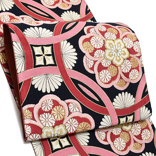 振袖 袋帯「黒×ラズベリー 輪繋ぎに華文」未仕立て 六通柄 正絹帯 袋帯 <T>【メール便不可】