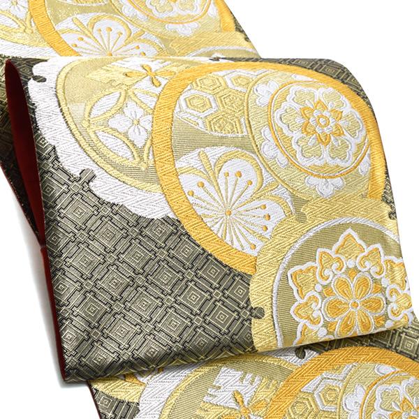 振袖 袋帯「ゴールド×黒色 雪輪、丸文」未仕立て 正絹帯 西陣織 振袖帯 <T>【メール便不可】