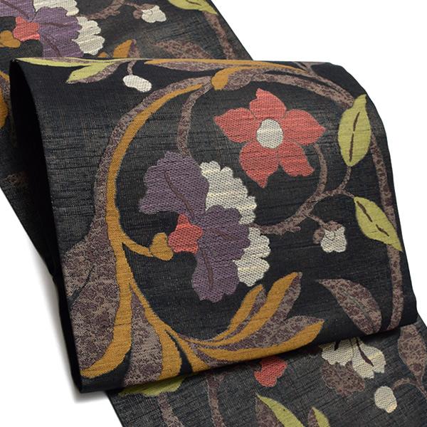 礼装 袋帯「黒茶色 花更紗」未仕立て 正絹帯 西陣織 フォーマル <T>【メール便不可】