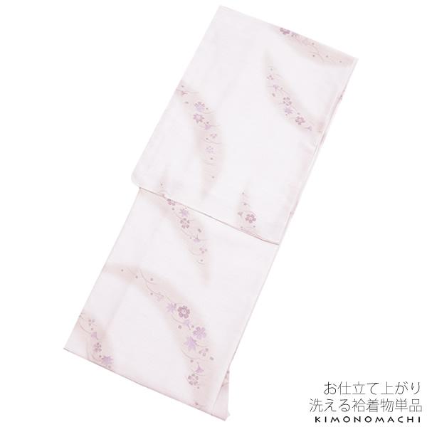 紬風 袷着物単品「薄桜色 吹き寄せ」Lサイズ 洒落着 洗える着物 ポリエステル着物 <H>【メール便不可】
