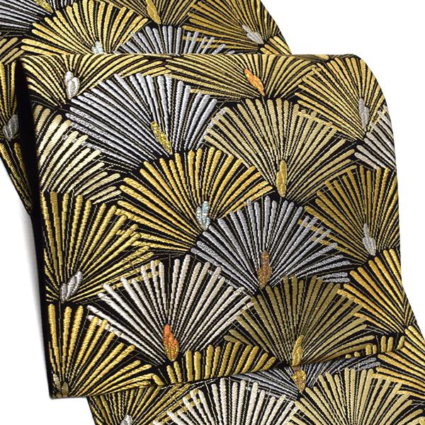 礼装 袋帯「黒色 扇松文」未仕立て 正絹帯 礼装帯 フォーマル <T>【メール便不可】