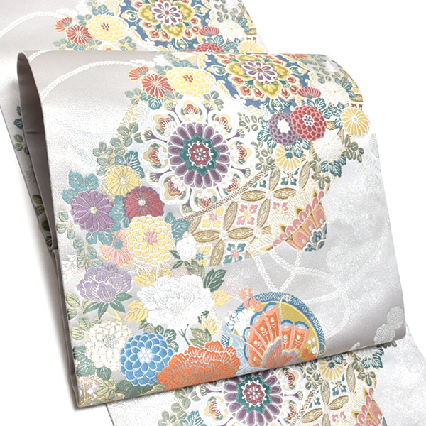 礼装 袋帯「白色 笠に華文、丸に蝶」未仕立て 正絹帯 礼装帯 フォーマル <T>【メール便不可】