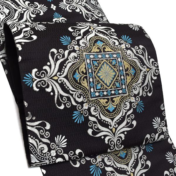 礼装 袋帯「黒色 モダン菱文」未仕立て 正絹帯 礼装帯 フォーマル <T>【メール便不可】