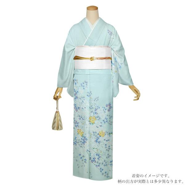 お仕立て上がり 訪問着単品「藍白色 枝垂れ桜」正絹着物 礼装 正絹訪問着 高級プレタ <T>【メール便不可】