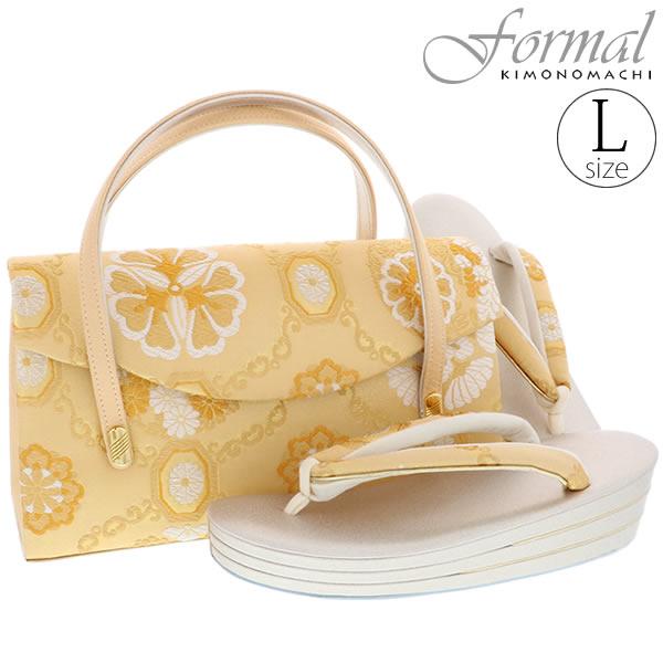 礼装 草履バッグセット「ゴールド 花文」Lサイズ 訪問着、色留袖に 三枚芯 フォーマル 和装バッグ【メール便不可】