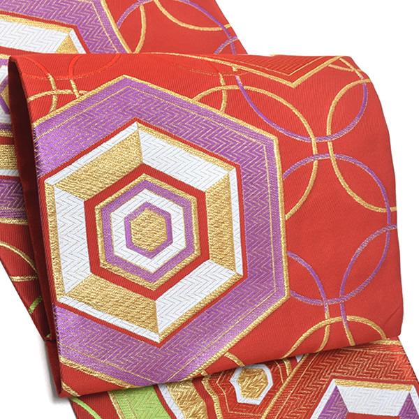 振袖 袋帯「赤色 輪つなぎ、亀甲」未仕立て 正絹帯 西陣織 振袖帯 <T>【メール便不可】