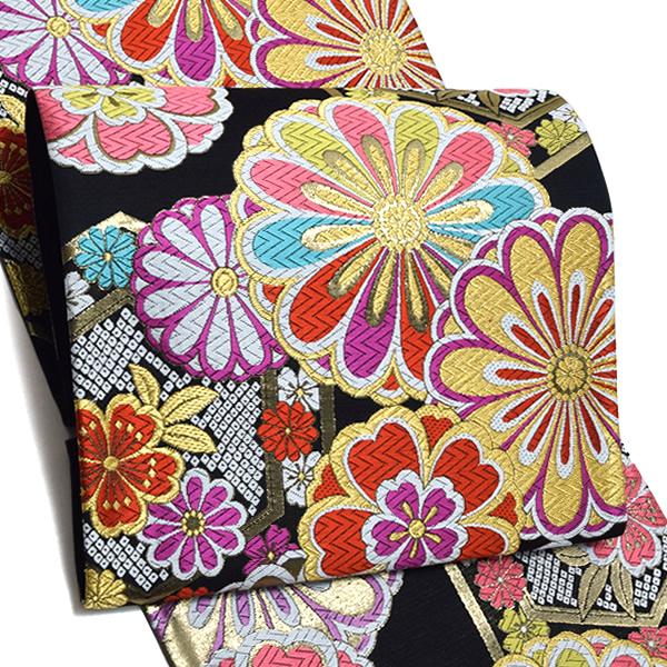 振袖 袋帯「黒色 亀甲に桜、菊花」未仕立て 正絹帯 西陣織 振袖帯 <T>【メール便不可】