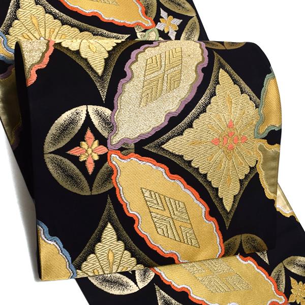 振袖 袋帯「黒色 七宝くづし華文」未仕立て 正絹帯 西陣織 振袖帯 <T>【メール便不可】
