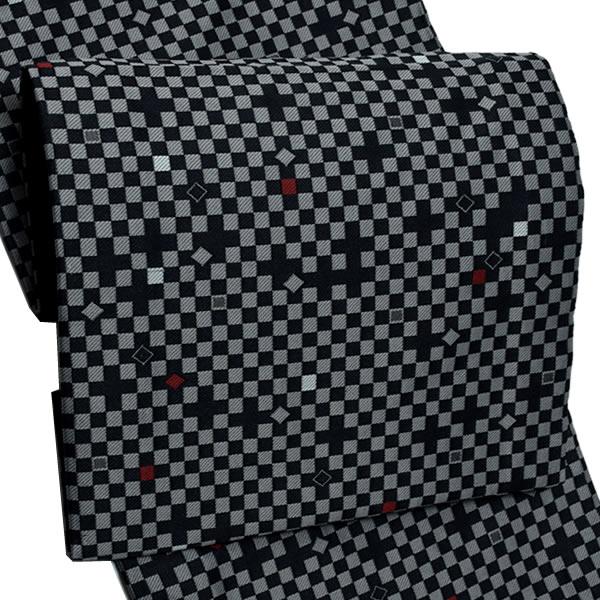 お仕立て上がり 京袋帯「黒×グレー 市松」全通柄 カジュアル帯 洒落帯 袋名古屋帯 (No.8)<H>【メール便不可】