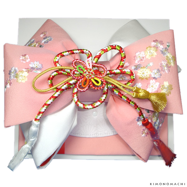 七五三 結び帯「ピンク×白 桜の刺繍」3歳、5歳、7歳 二部式帯 付け帯 日本製 No.608ピンク【メール便不可】