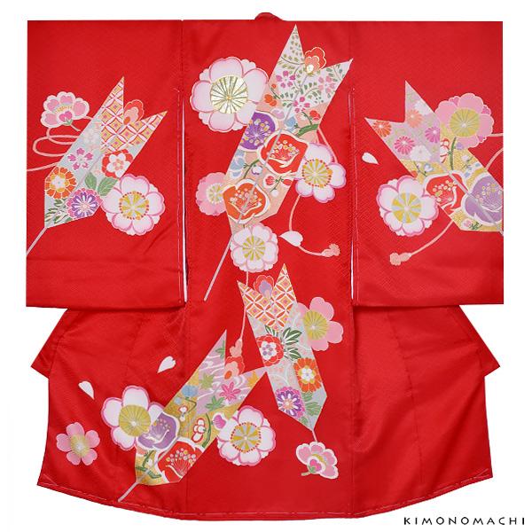 女の子のお宮参り着物 祝い着(熨斗目)「赤色 矢羽に桜」綾 一ツ身 手描き お宮参り 七五三 【メール便不可】