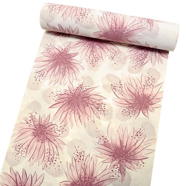 洗える着物 セミオーダー洗える着物「ピンクパープル 花」クイーンサイズ 洒落着 お仕立て代込み 袷着物 単衣着物 <H>【メール便不可】