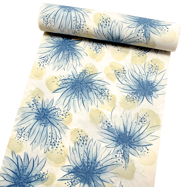 セミオーダー 洗える着物「ブルー 花」クイーンサイズ 洒落着 お仕立て代込み 袷着物 単衣着物 <H>【メール便不可】