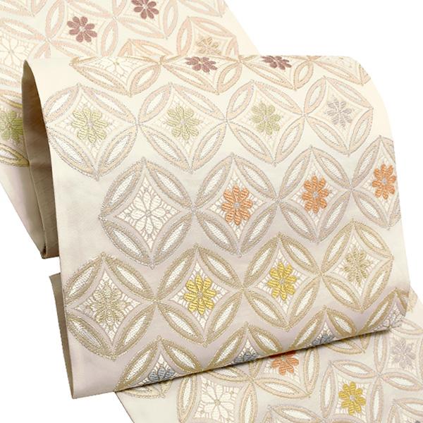 礼装 袋帯「白色 七宝花菱文」未仕立て 正絹帯 礼装帯 フォーマル <T>【メール便不可】