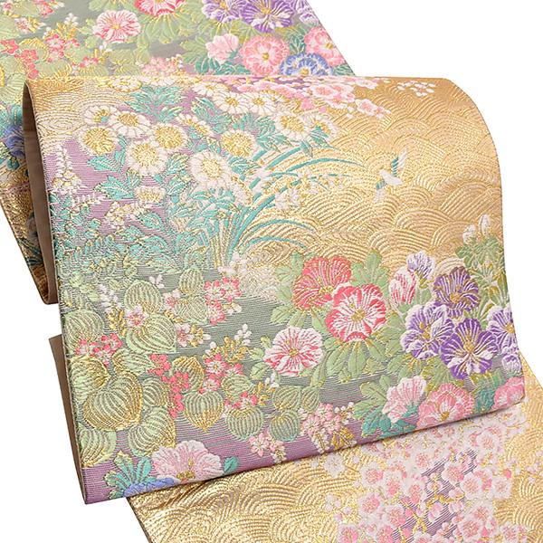 礼装 袋帯「ゴールド 波に草花」未仕立て 正絹帯 礼装帯 フォーマル <T>【メール便不可】