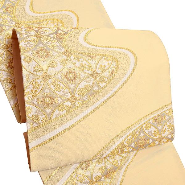 礼装 袋帯「薄クリーム 流水に七宝」未仕立て 正絹帯 礼装帯 フォーマル <T>【メール便不可】
