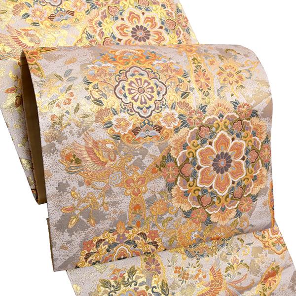 礼装 袋帯「花喰い鴛鴦、宝相華文」未仕立て 正絹帯 礼装帯 フォーマル <T>【メール便不可】
