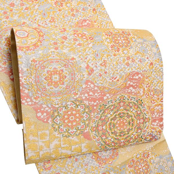 礼装 袋帯(長尺)「ゴールド 霞に華文」未仕立て 正絹帯 礼装帯 フォーマル <T>【メール便不可】