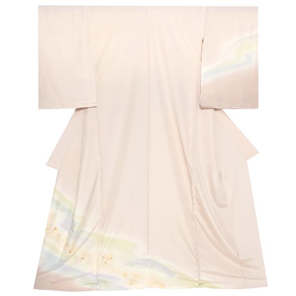 未仕立て 訪問着単品「薄桜色 流水」未仕立て 礼装 仮絵羽 フォーマル <T>【メール便不可】