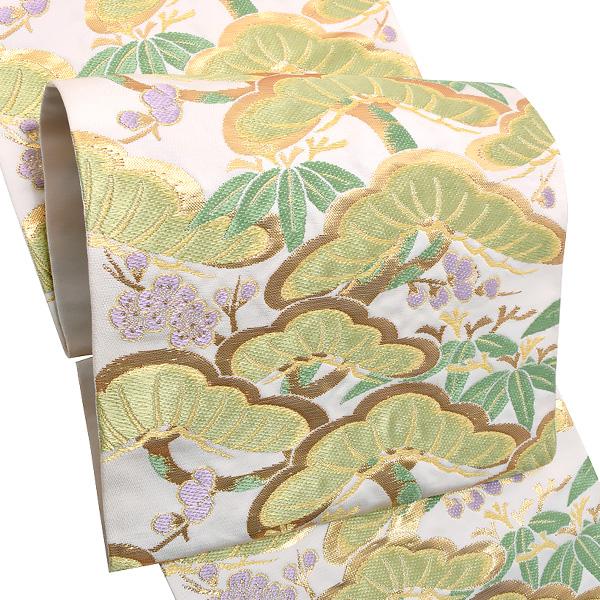 礼装 袋帯「白色 松竹梅」未仕立て 正絹帯 礼装帯 フォーマル <T>【メール便不可】