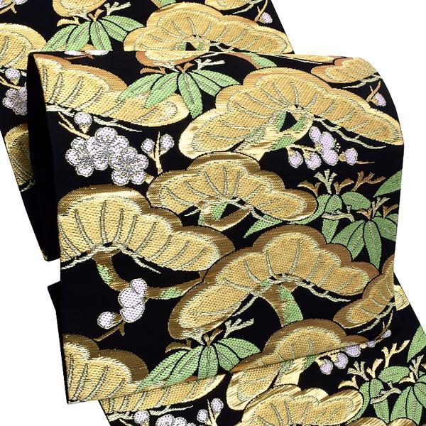礼装 袋帯「黒色 松竹梅」未仕立て 正絹帯 礼装帯 フォーマル <T>【メール便不可】