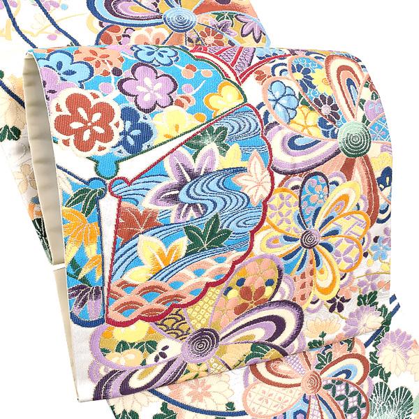 礼装 袋帯「生成り 名裳豊楽文」未仕立て 正絹帯 礼装帯 フォーマル <T>【メール便不可】