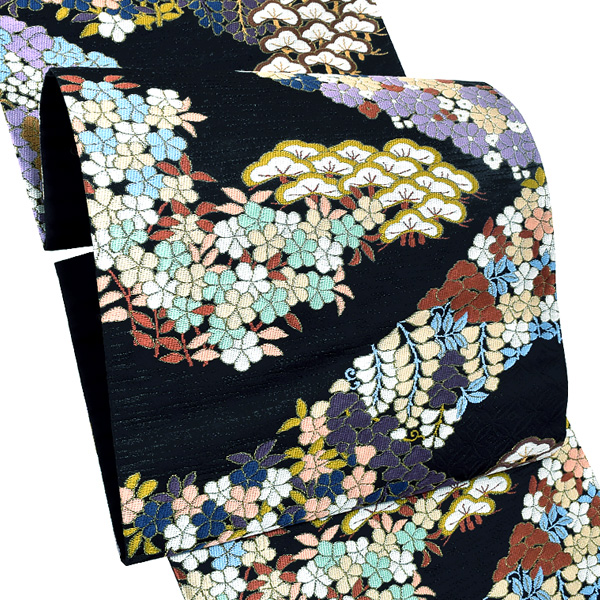 礼装 袋帯「黒色 桃山裂取文様」未仕立て 正絹帯 礼装帯 フォーマル <T>【メール便不可】