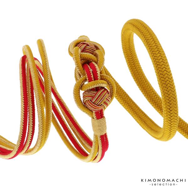 振袖 帯締め「からし×赤×金 苧環飾り付き」伊賀組紐 成人式、前撮り、結婚式の振袖に 振袖向け帯締め 正絹帯締め (NK-26)<H>【メール便不可】