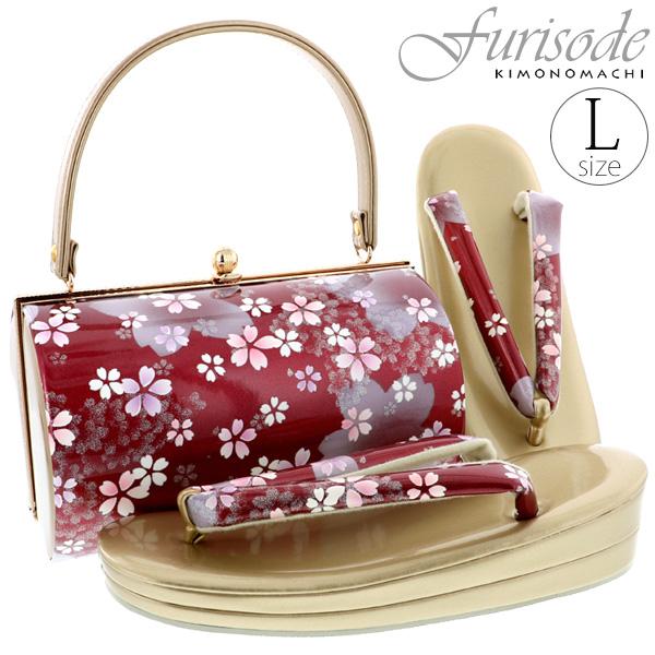 振袖 草履バッグセット「赤色 桜」Lサイズ(フリーサイズ) フォーマル 二枚芯 草履 (GB-16)<H>【メール便不可】