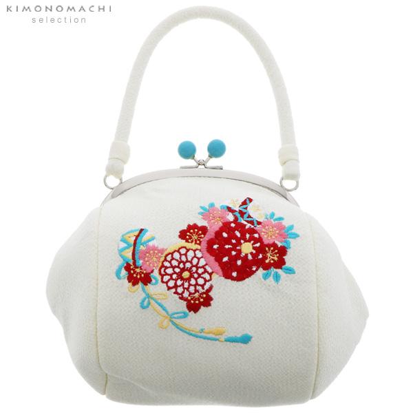 刺繍がま口 バッグ単品「白色 毬」振袖バッグ ちりめん刺繍 和装バッグ がま口バッグ <H>【メール便不可】999955970