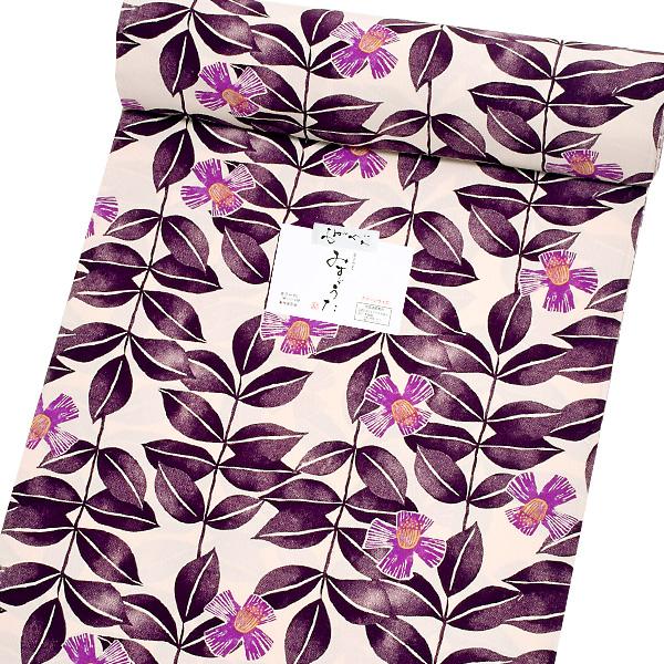 洗える着物 セミオーダー「紫色 椿」みすゞうた 金子みすゞ クイーンサイズ 小紋 み-201 B<H>【メール便不可】