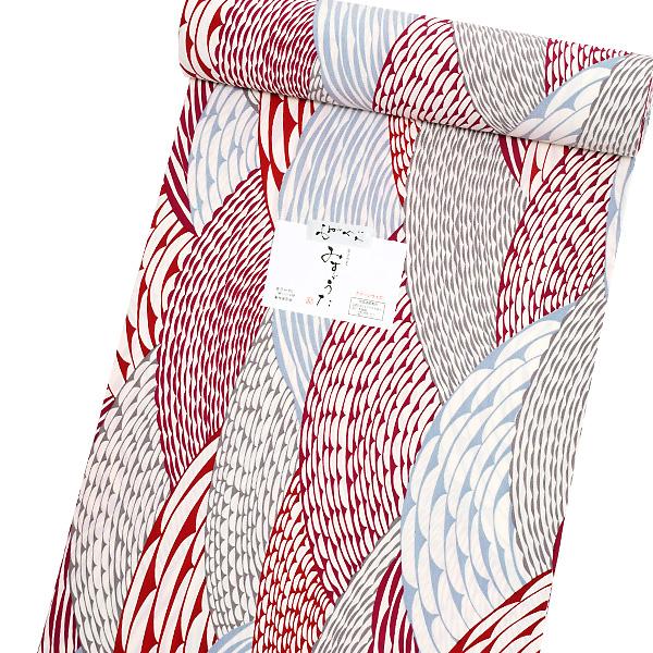 洗える着物 セミオーダー「赤紫×グレー 波」みすゞうた 金子みすゞ クイーンサイズ 小紋 み-205 A<H>【メール便不可】