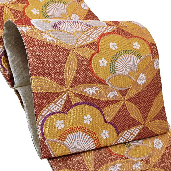 振袖 袋帯「臙脂色 梅」お仕立て上がり 正絹帯 礼装帯 フォーマル <T>【メール便不可】