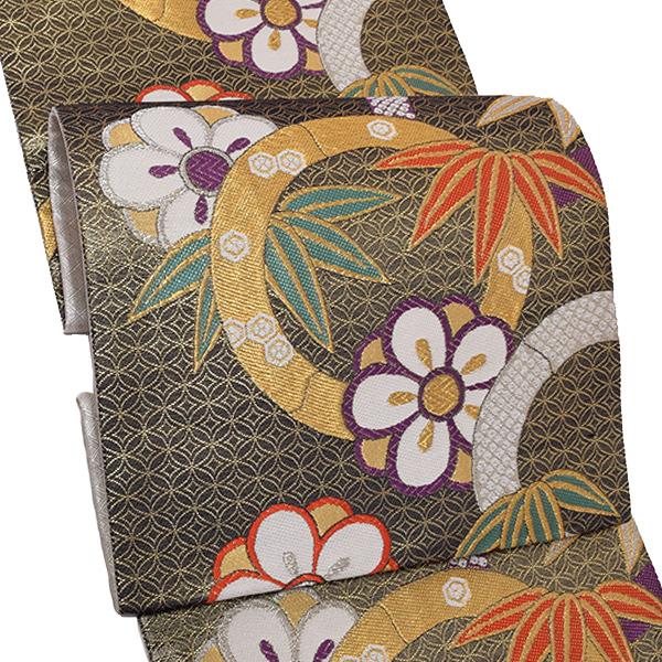 振袖 袋帯「黒色 竹と梅」お仕立て上がり 正絹帯 礼装帯 フォーマル <T>【メール便不可】