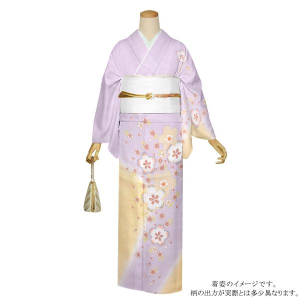 お仕立て上がり 訪問着単品「薄藤色×クリーム色 桜」正絹着物 礼装 正絹訪問着 高級プレタ 袷仕立て <T>【メール便不可】