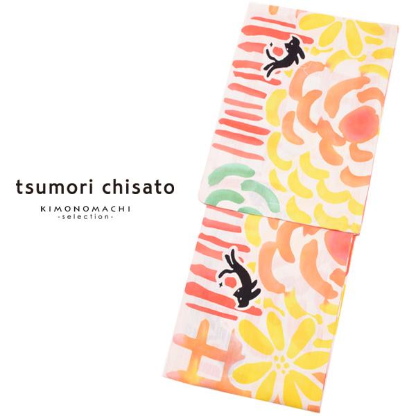 ツモリチサト 浴衣単品「カラフル格子、花と猫」綿浴衣 レディース 変わり織り tsumori chisato 8t-5【メール便不可】