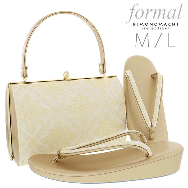 礼装 草履バッグセット「ゴールド 菱格子に華文」M、L 訪問着、留袖に フォーマル 結婚式、式典、卒業式、入学式に <T><H>【メール便不可】