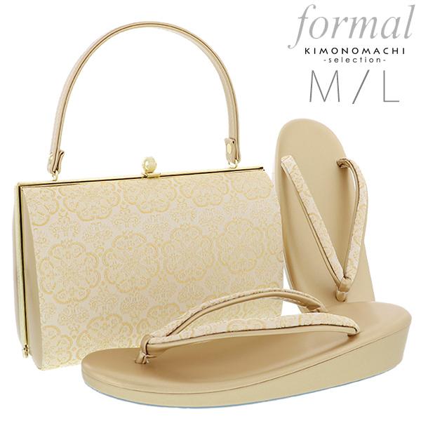 礼装 草履バッグセット「ゴールド 華文」M、L 訪問着、留袖に フォーマル 結婚式、式典、卒業式、入学式に <T><H>【メール便不可】