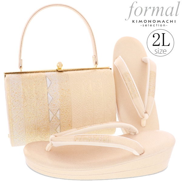 礼装 草履バッグセット「ゴールド 縞に更紗」2Lサイズ 礼装草履バッグ 二枚芯 訪問着、留袖に <H>【メール便不可】