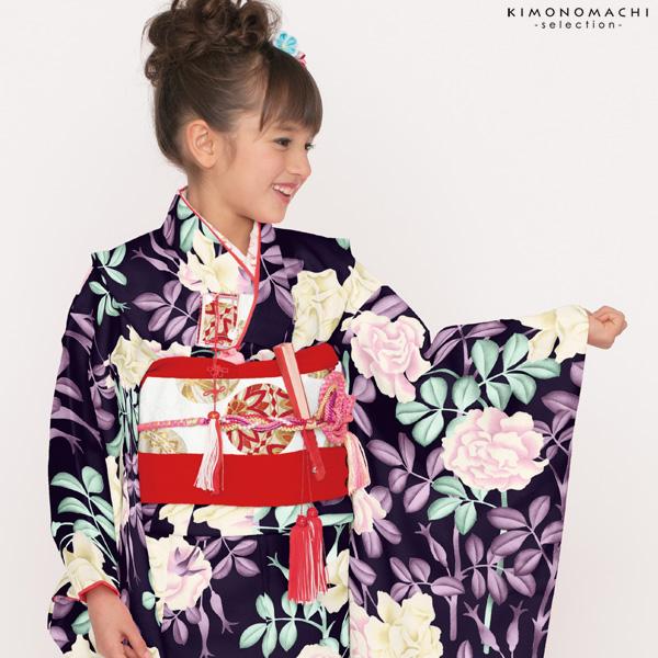 七五三 四つ身「黒色 薔薇」Shikibu Classic 七五三祝い 式部浪漫 こども着物 【メール便不可】