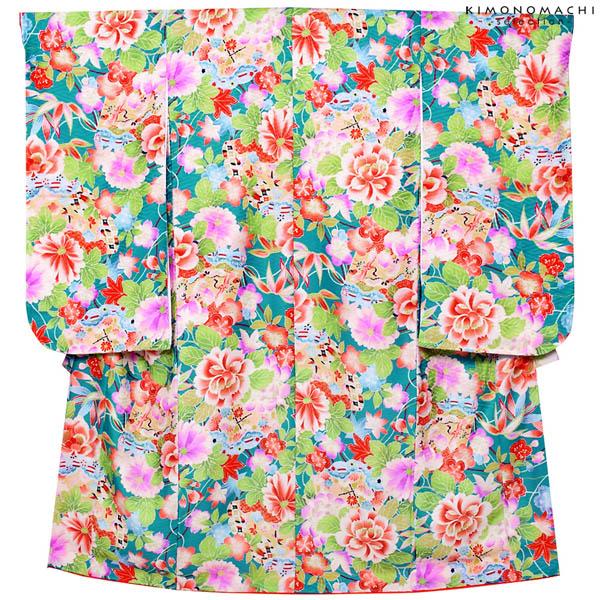 七五三 四つ身「青緑色 扇、古典花柄」Shikibu Classic 七五三祝い 式部浪漫 こども着物 【メール便不可】
