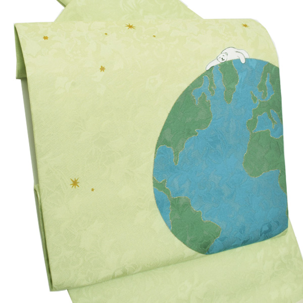 正絹 名古屋帯「グリーン 地球と白熊」夏帯 夏着物に 名古屋帯 日本製 【メール便不可】