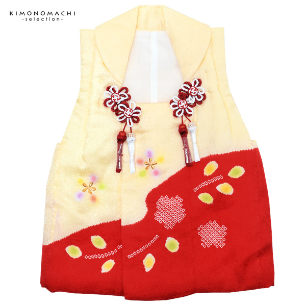 女児 被布コート単品「薄黄×赤色 絞りのお花」3歳児用 女の子小物 お子様被布コート 和装小物 紅花【メール便不可】