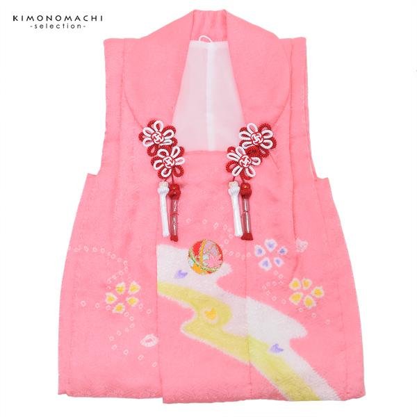 女児 被布コート単品「ピンク 流水に毬」3歳児用 女の子小物 お子様被布コート 和装小物 宇治【メール便不可】