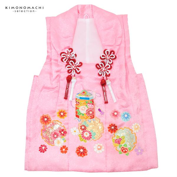 女児 被布コート単品「ピンク 貝桶、雪輪」3歳児用 女の子小物 お子様被布コート 和装小物 都路【メール便不可】